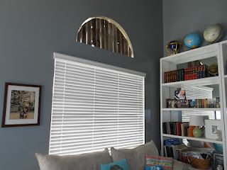 Half Moon Window Shade Made From Weathered Wood Fence Living Room