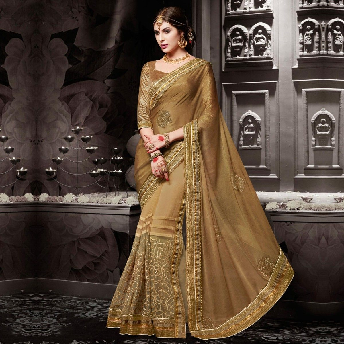 Buy Brown - Beige Color Chiffon Saree for womens online India, Best ...