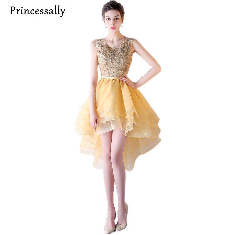 Günstige Gold Abendkleid Asymmetrische Ärmel Hoch Niedrig Kleid ...