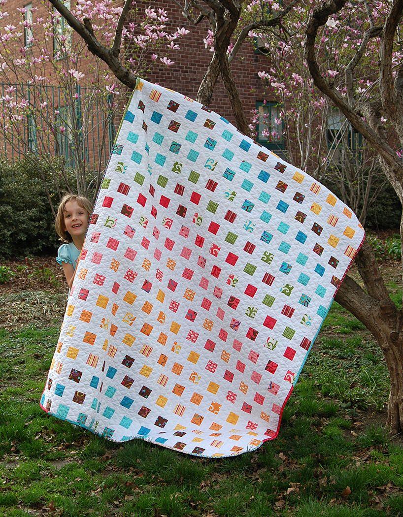 rainbow square quilt