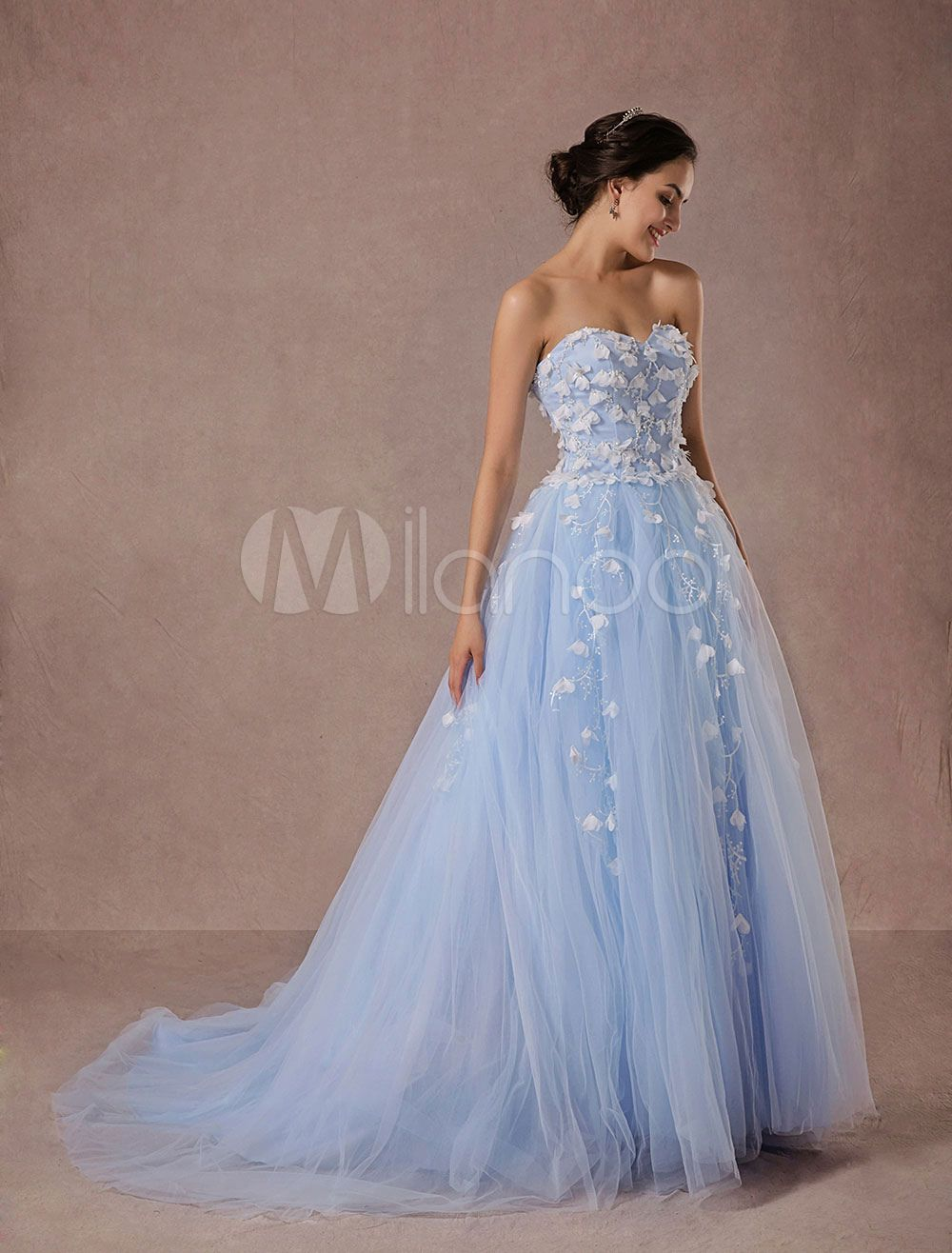 Blue wedding dress lace tulle chapel train bridal gown sweetheart