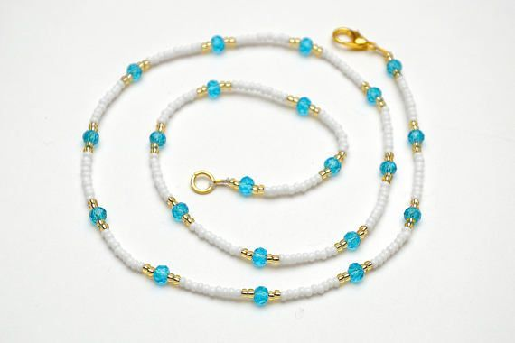 anklets women sara strand july anklet blue kotmel triple white gifts on beaded fusion pin by beads red gift and for pinterest american patriotic her