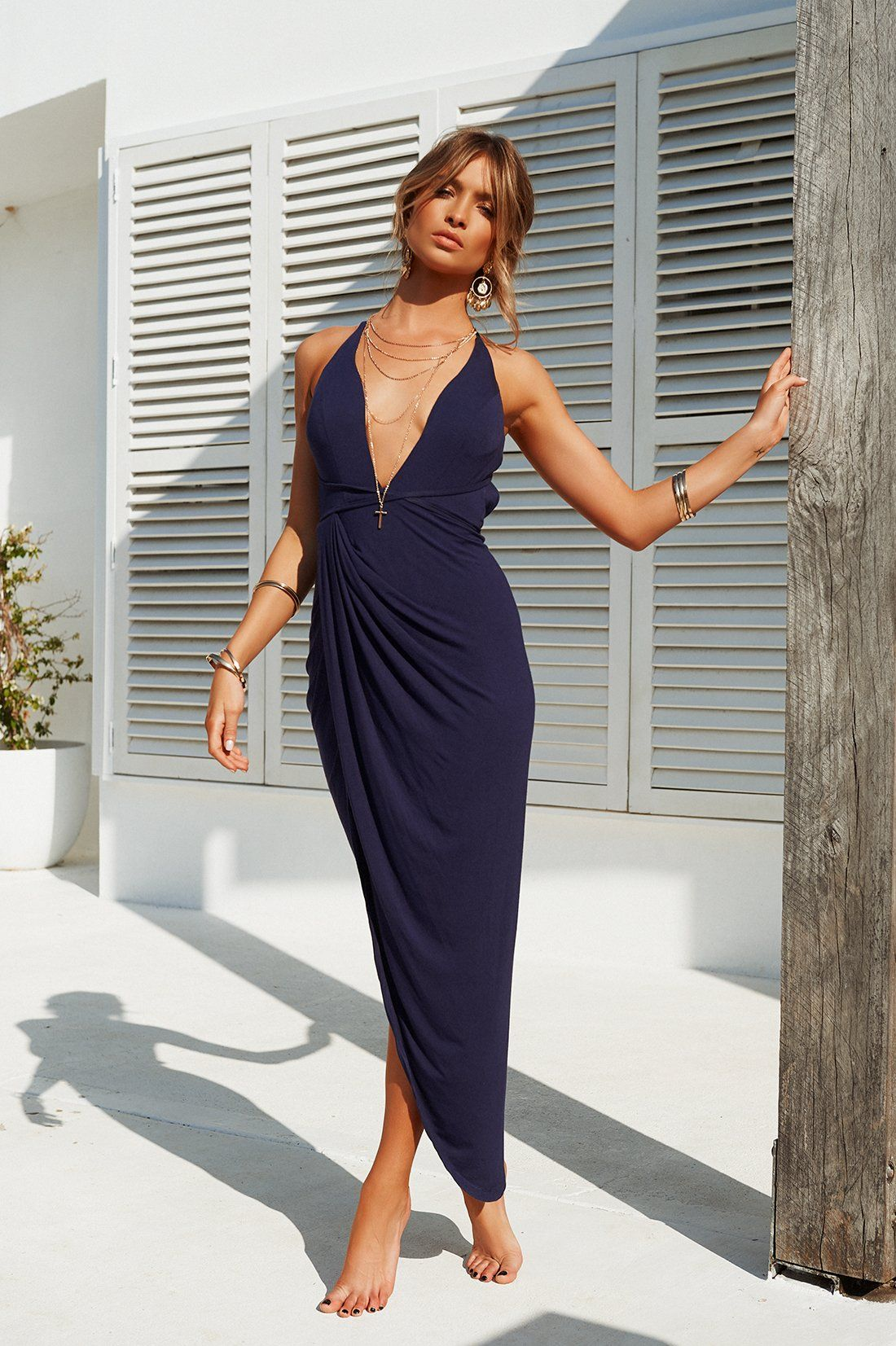 Eyes on you maxi dress navy with images dress shirts
