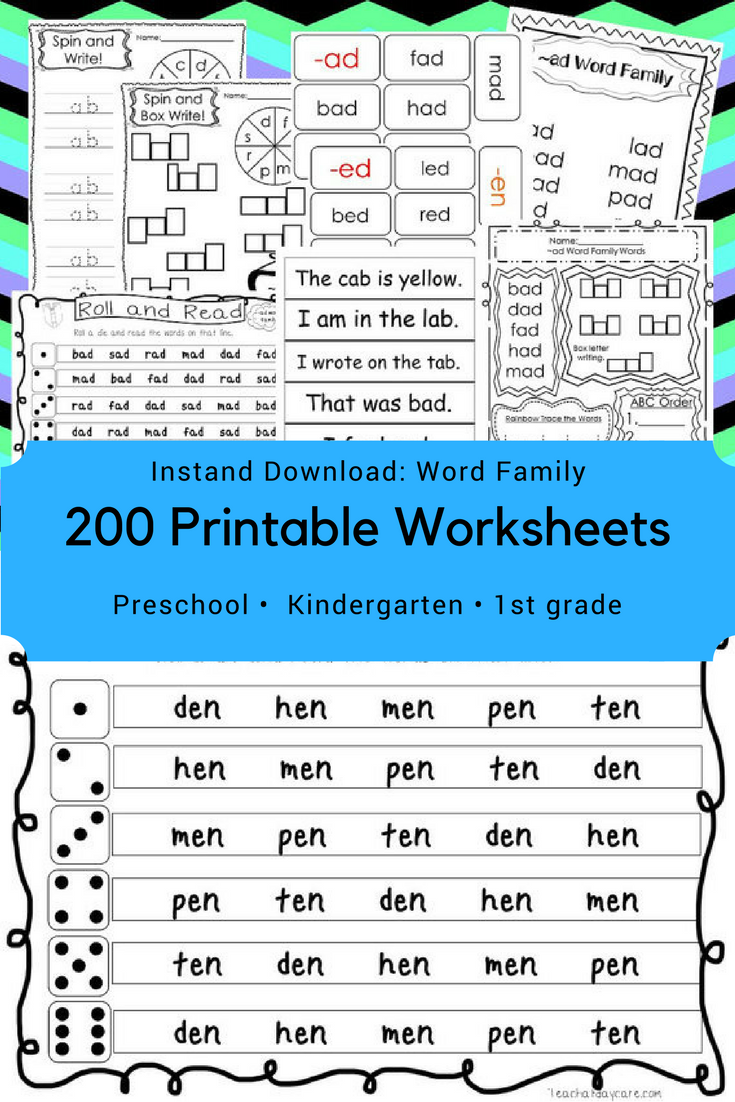 200 Printable Word Families Flashcards, Worksheets, and