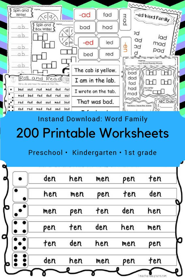 medium resolution of 200 Printable Word Families Flashcards