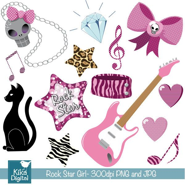 Cool Rock Star Girl Playing Guitar Royalty Free Cliparts, Vectors, And  Stock Illustration. Image 8261992.