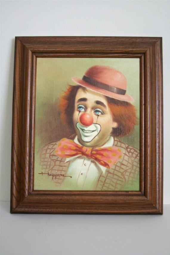 Vintage Authentic Michael Grow Hoppin Clown Painting, Original Oil ...