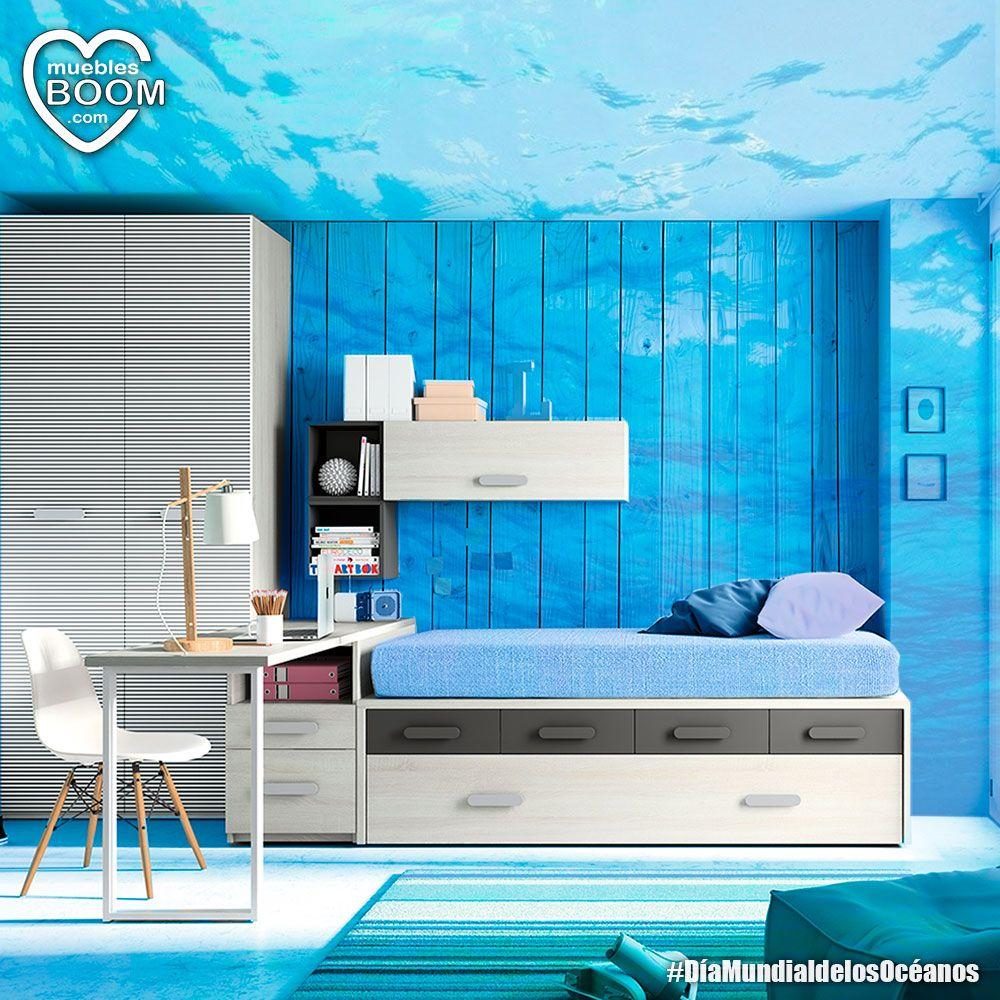 Dormitorio Juvenil Hibernian Grafito Dormitorios Juveniles  # Somier Muebles Boom