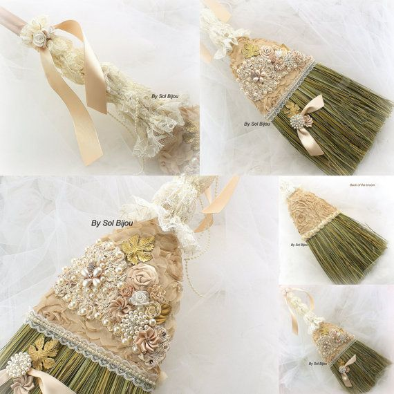 Wedding Broom, Bridal Jumping The Broom in Ivory, Gold and Blush Champagne with Crystals, Pearls and Handmade Flowers- Vintage Inspired