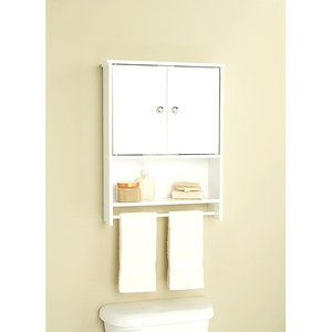 White 2 Door Wall Cabinet With Open Storage And Towel Bar
