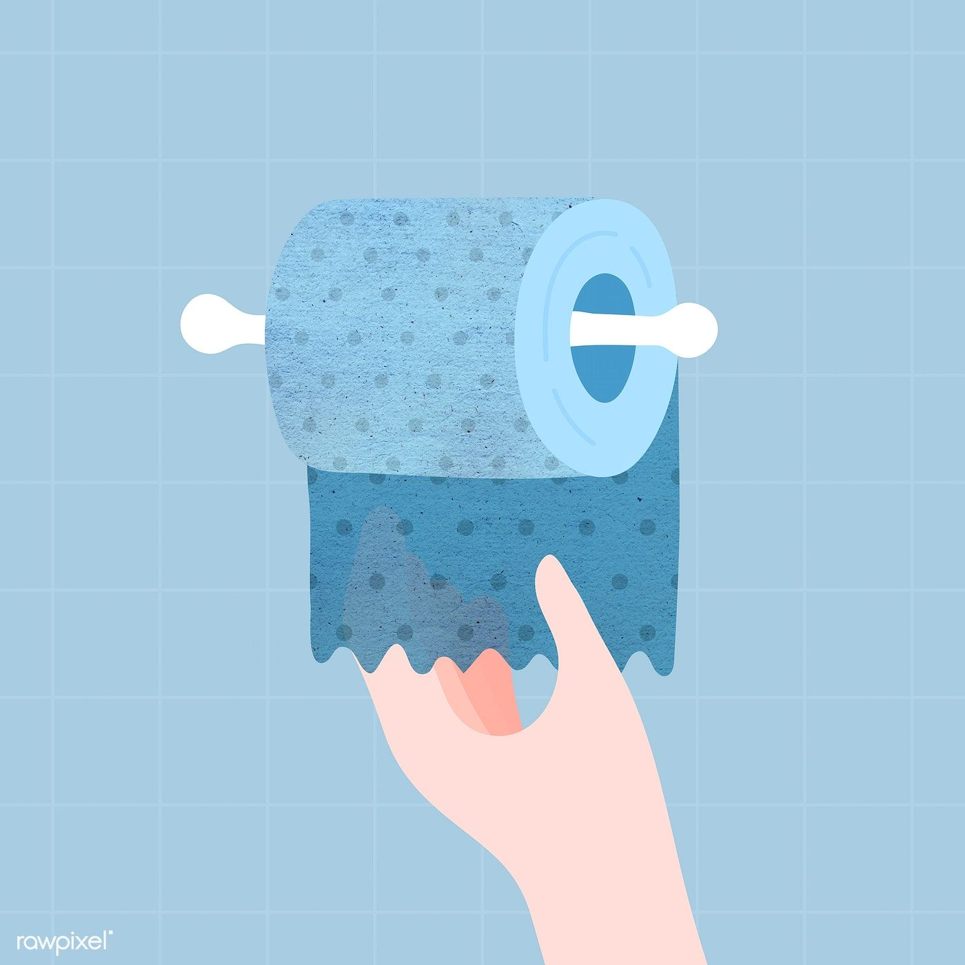 Hand getting a blue toilet tissue vector free image by