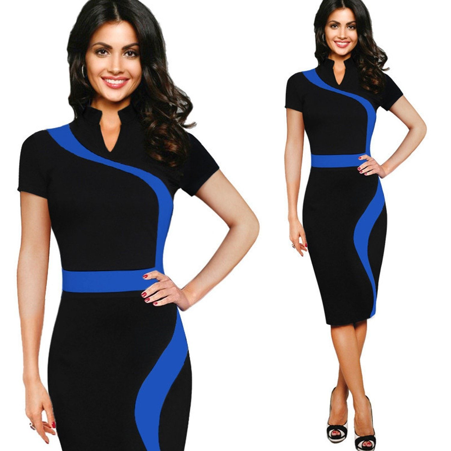 Womens Contrast Colorblock Slimming Wear To Work Office Business Casual Party Pencil Sheath Bodycon Dress