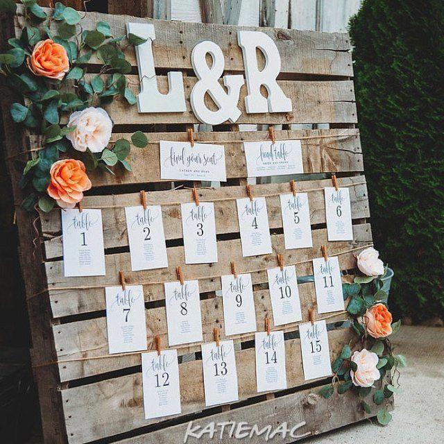 Tisch und Sitzplan für die Hochzeit
