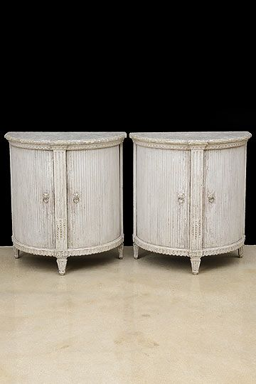 Pair Of Antique French Painted Tambour Demilune Cabinets.
