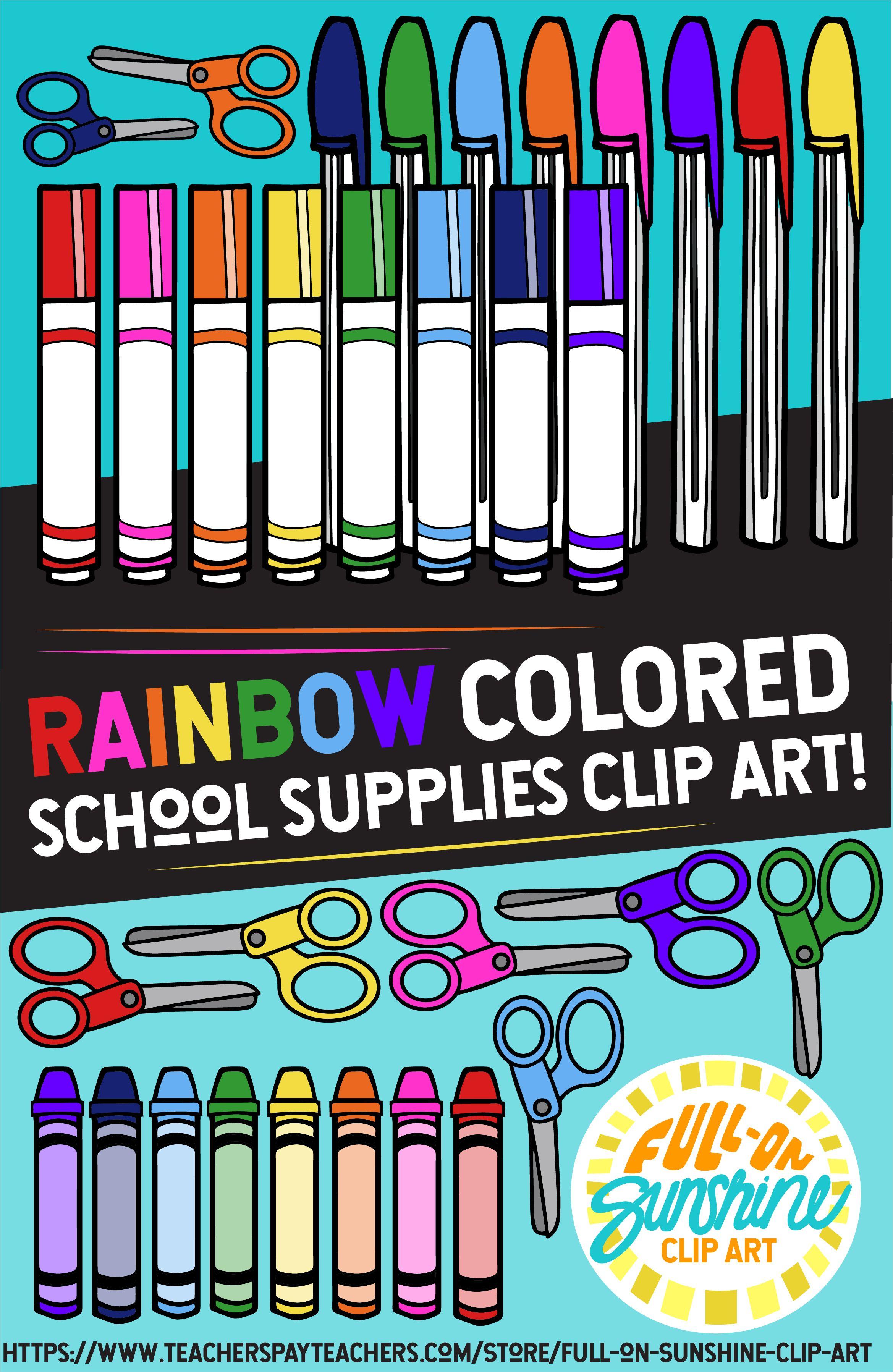 School Supplies Rainbow Colors Full On Sunshine Clip Art