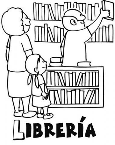 Dibujos para colorear de niños en una librería. Dibujos de tiendas ...