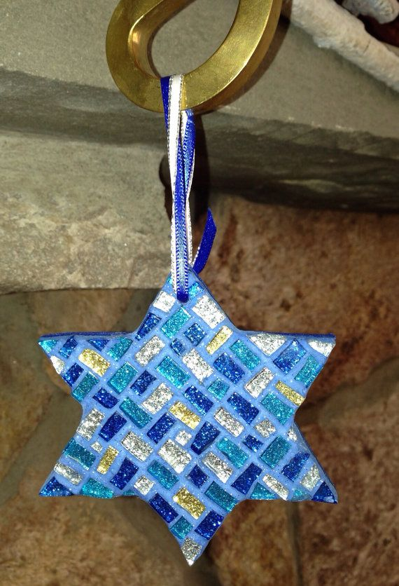Star of David Chanukah mosaic art decoration Sapphire Blue Teal Hanukkah Gift