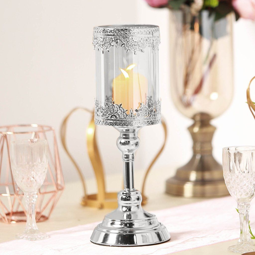 13 Tall Lace Design Silver Hurricane Candle Holder With Glass Tube In 2020 Pillar Candle Decor Candle Decor Candle Holder Decor