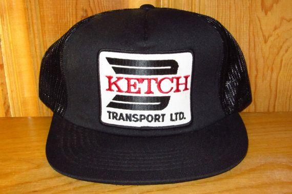 KETCH Transport Ltd. Defunct Vintage 80s Black Mesh Trucker Snapback ... 98e37e6a3fcd