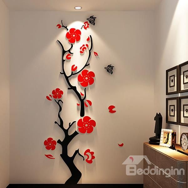 Wonderful Red/Light Purple Titoni And Butterfly Acrylic 3D Waterproof Wall Stickers