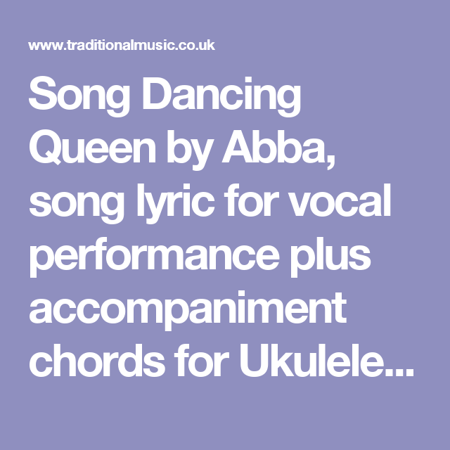 Song Dancing Queen By Abba Song Lyric For Vocal Performance Plus