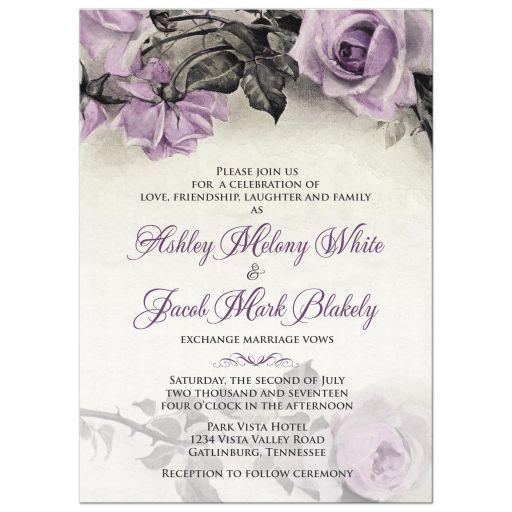 Vintage Mauve Purple Rose Wedding Invitation Vintage Wedding