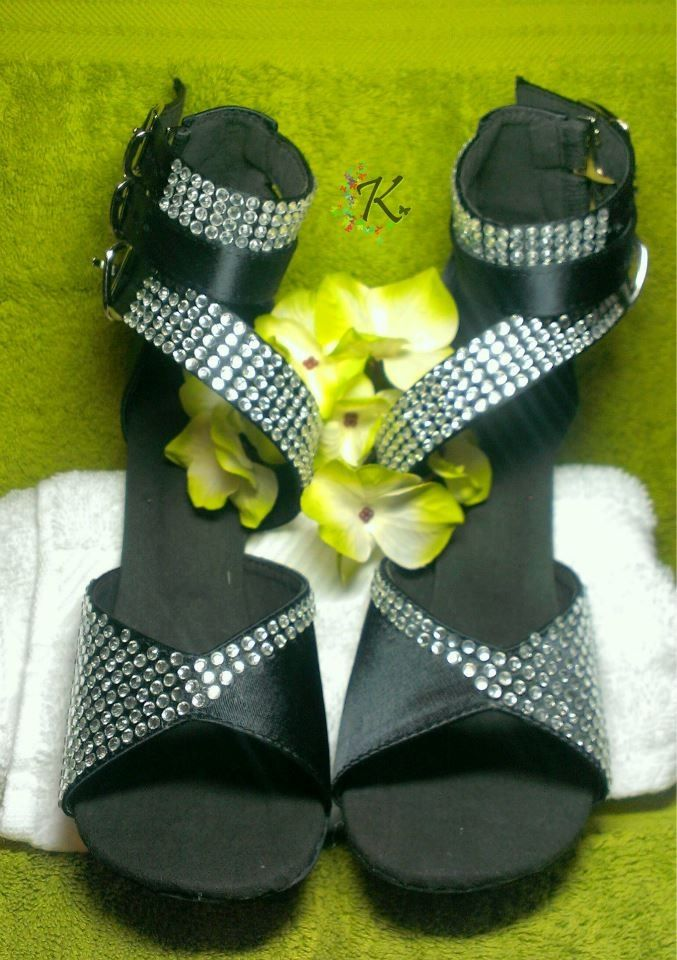 Salsa Shoes customised with Clear HotFix Crystals.