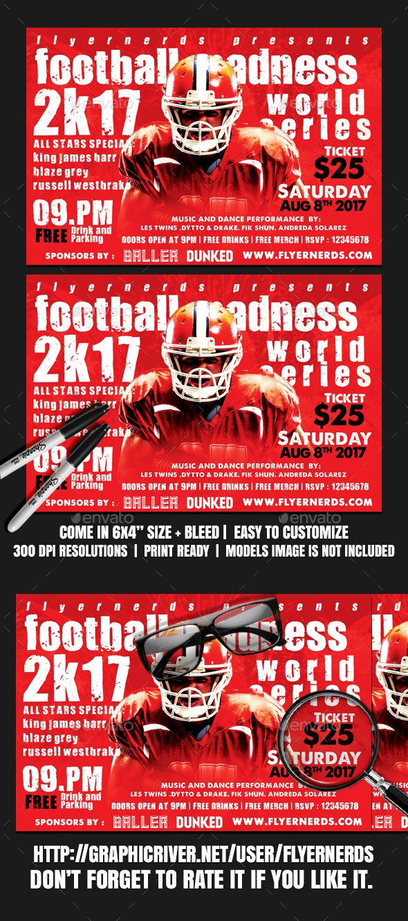 Football Madness K Championships Sports Flyer  Madness Flyer