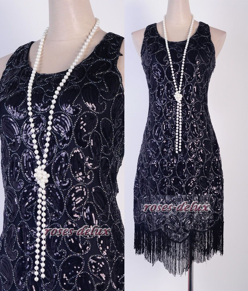color us flapper clubwear gatsby abbey sequin fringed black