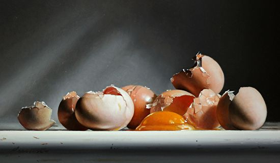 EGG AND SHELLS no. 9 by Larry Preston Oil ~ 7 x 12