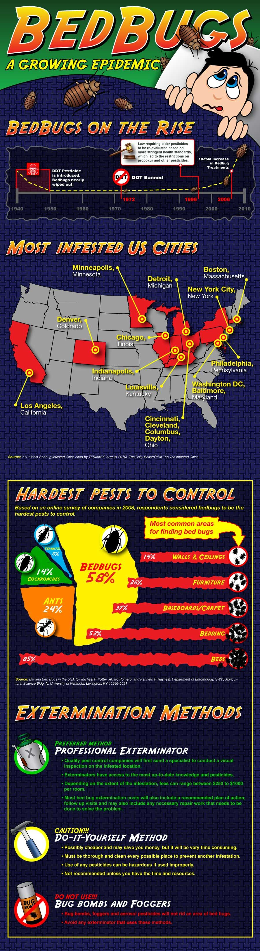 Bed Bug epidemic infographic showing which cities are most