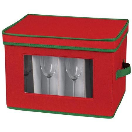 I pinned this Holiday Stemware Storage Chest from the Expertly