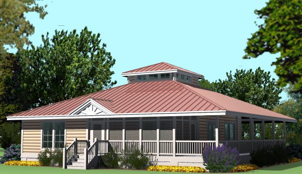Hip Cottage With Wrap Around Porch 1423 Sf Southern Cottages House Roof Hip Roof Roof Design