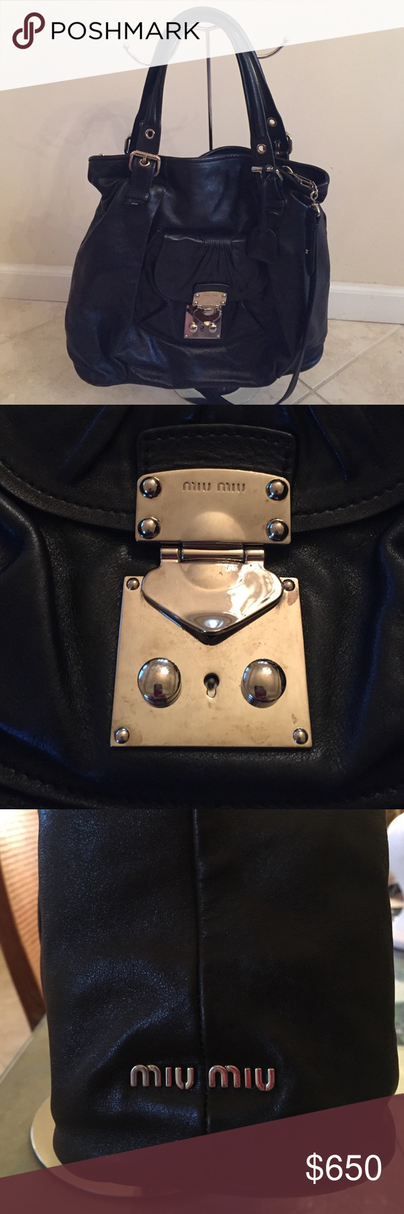 c1c96b322dd3a Authentic Miu Miu Nappa Leather Tote Bag Beautiful authentic Miu Miu Nappa  leather tote. Removable adjustable strap. Handbag/Satchel/Crossbody all in  one.