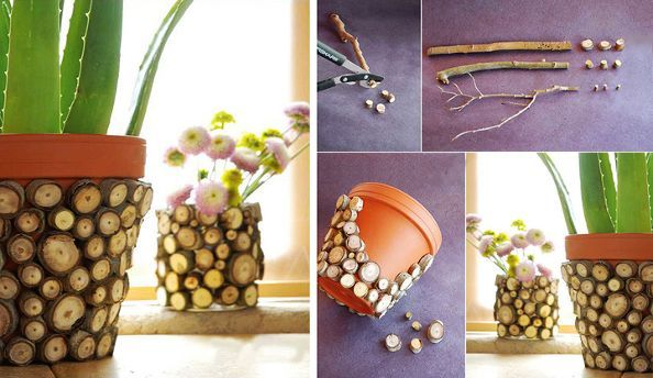 Diy Twig Pot Decoration 2 Diy Planters Pots Flower Pots Diy Planters
