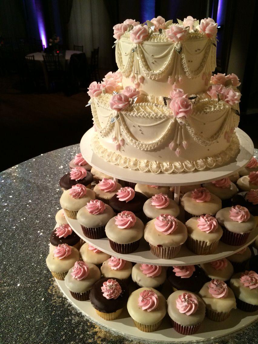 ballerina wedding cake and mini cupcakes by beaverton