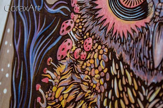 Wood Watercolor Wall Art Owl Bird ArtModern
