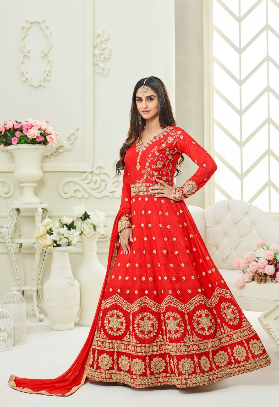 66bd8d04d4 Buy Red Tapeta Silk Anarkali Suit By Saree Exotica Online at Low prices in  India on