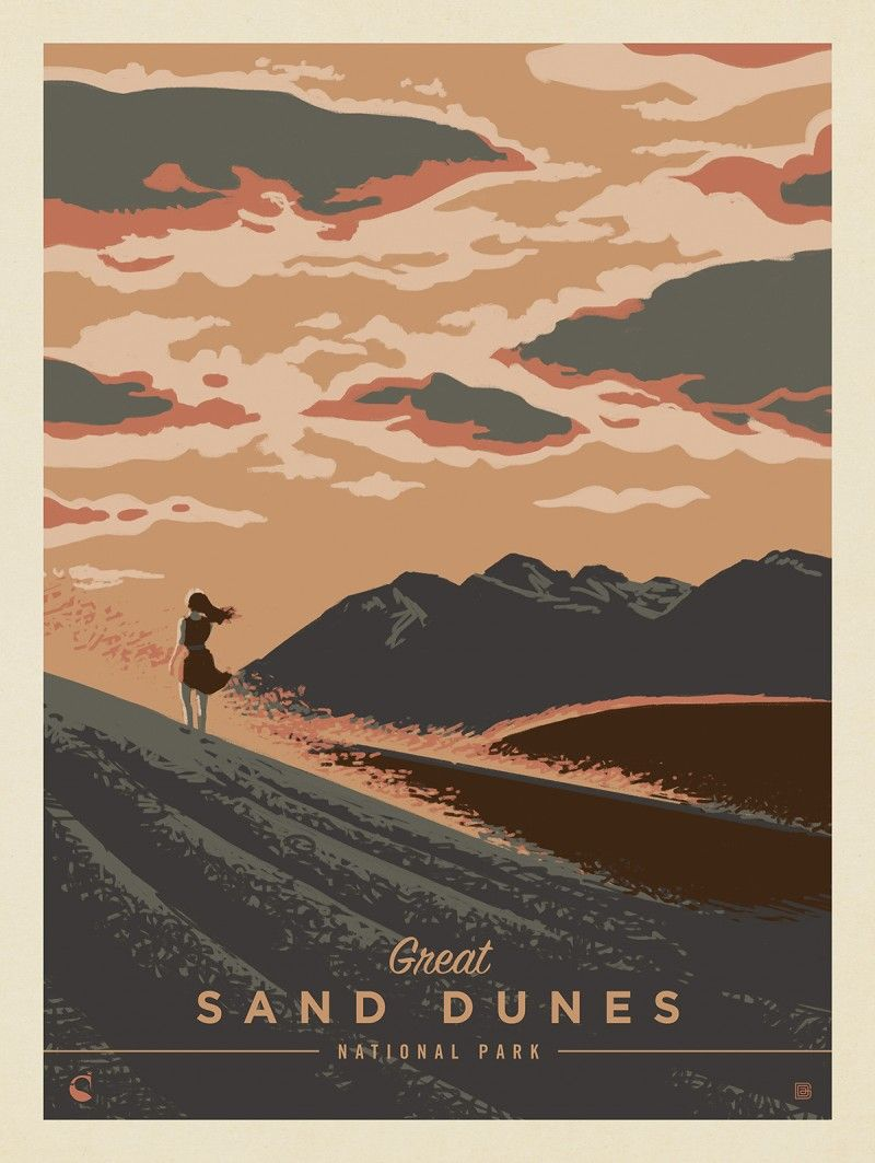 Great Sand Dunes National Park Windswept Anderson Design Group In 2020 Vintage Poster Design Dune Art Nature Posters