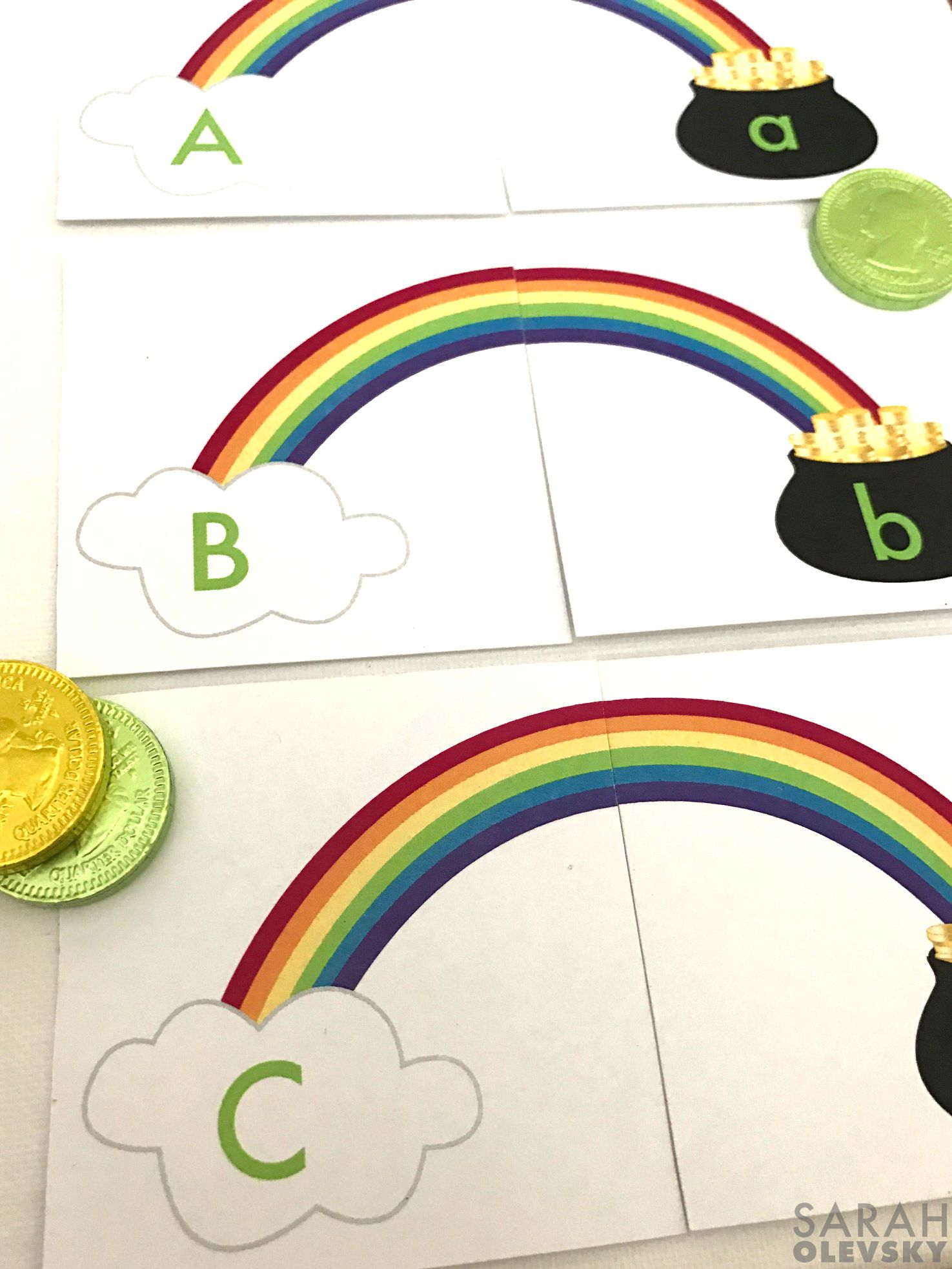 Rainbow Letter / Alphabet Matching Card Game FREE PRINTABLE for St. Patricks Day!
