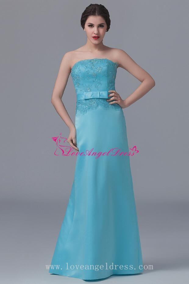 921f68e0029 Blue Satin Dress, Satin Dresses, Long Bridesmaid Dresses, Wedding  Bridesmaids, Lace Bodice