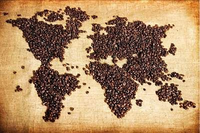 Coffee Beans map of the world.