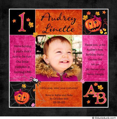 1st Birthday Halloween Invitation