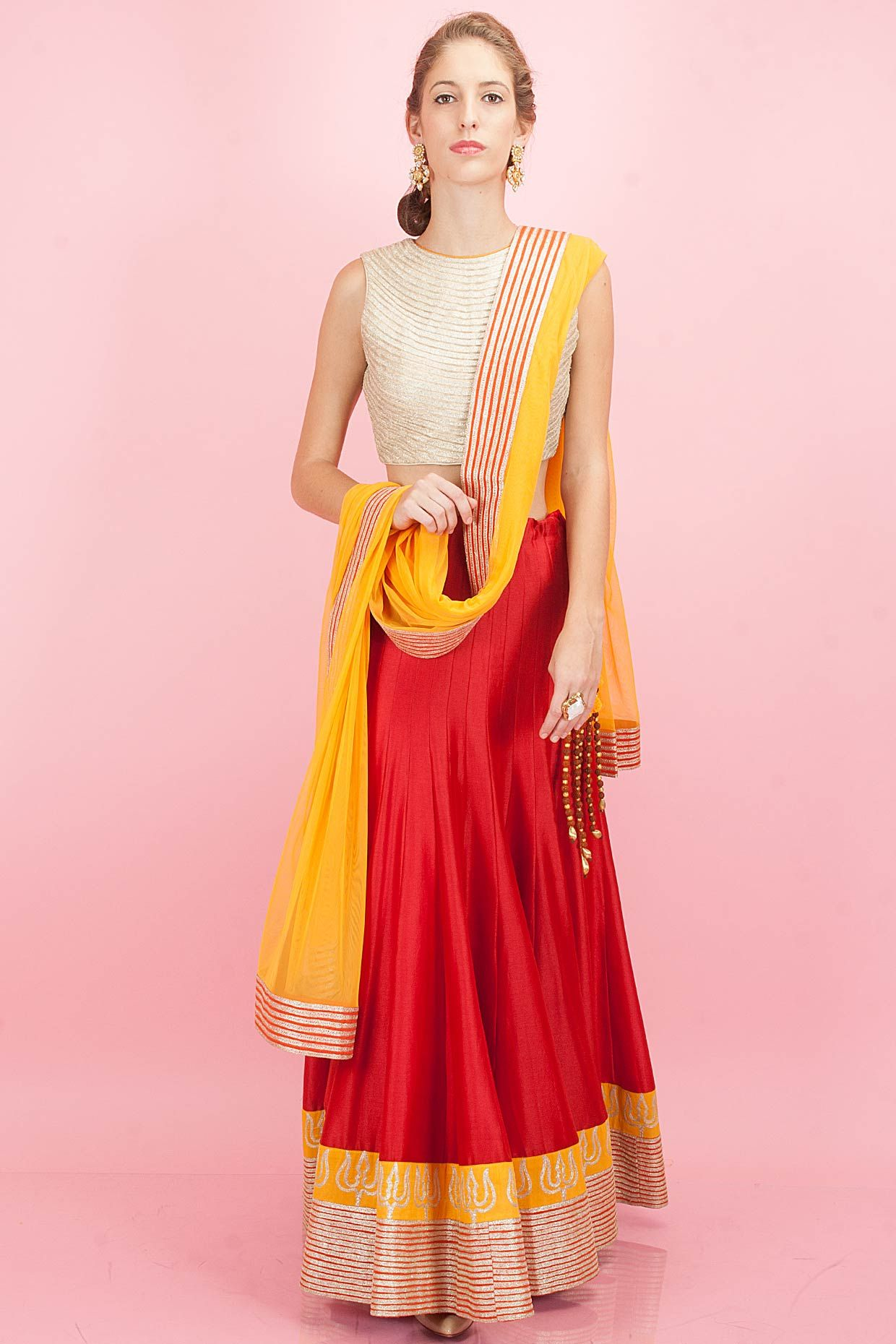 Beige embroidered blouse with red lehenga available only at perniaus