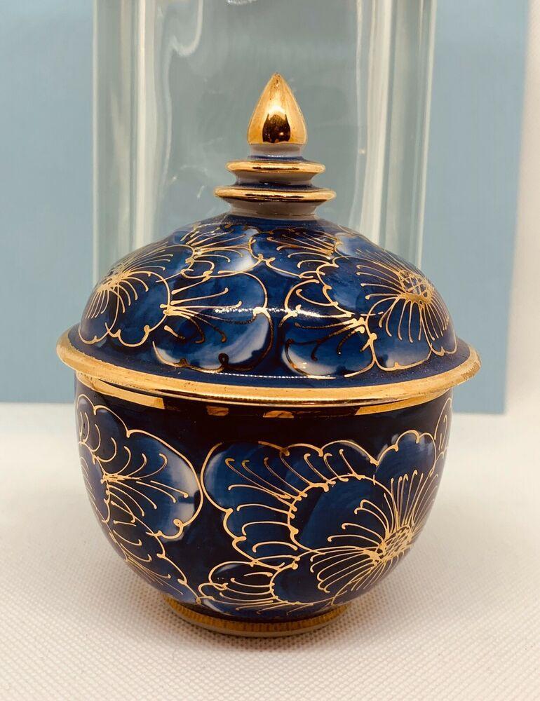 Hand Painted Thai Benjarong Covered Ceramic Porcelain Jar Bowl Cup With Lid 24k Unbranded Jar Porcelain Ceramics