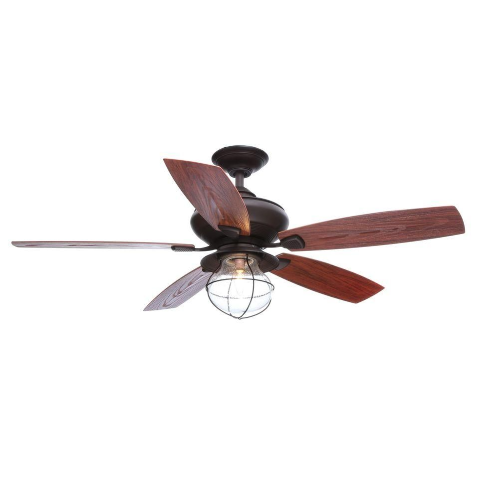 Hampton Bay Sailwind Ii 52 In Indoor Outdoor Oil Rubbed Bronze Ceiling Fan With Wall Control And Light Kit Ag908od Orb The Home Depot Bronze Ceiling Fan Ceiling Fan Outdoor Ceiling Fans