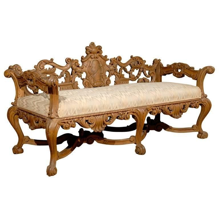 Late 19th Century Richly Carved Italian Wooden Bench With Upholstered Seat 1stdibs Com Carved Sofa Wooden Bench Seating