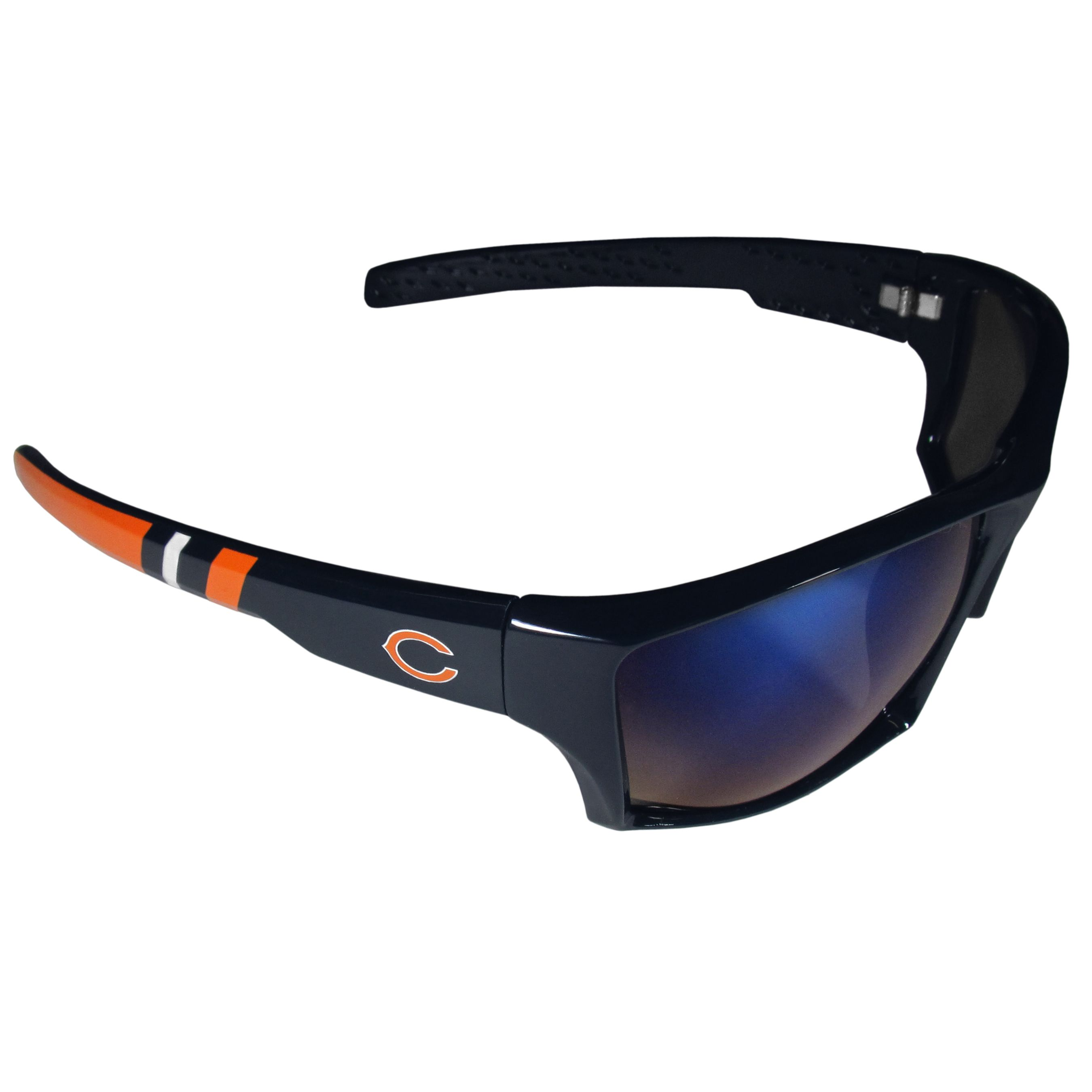 3067ed68630 Be an icon of edgy style while you re in the stadium cheering your Chicago  Bears to victory with our polarized wrap sunglasses that feature 100%  UVA UVB ...