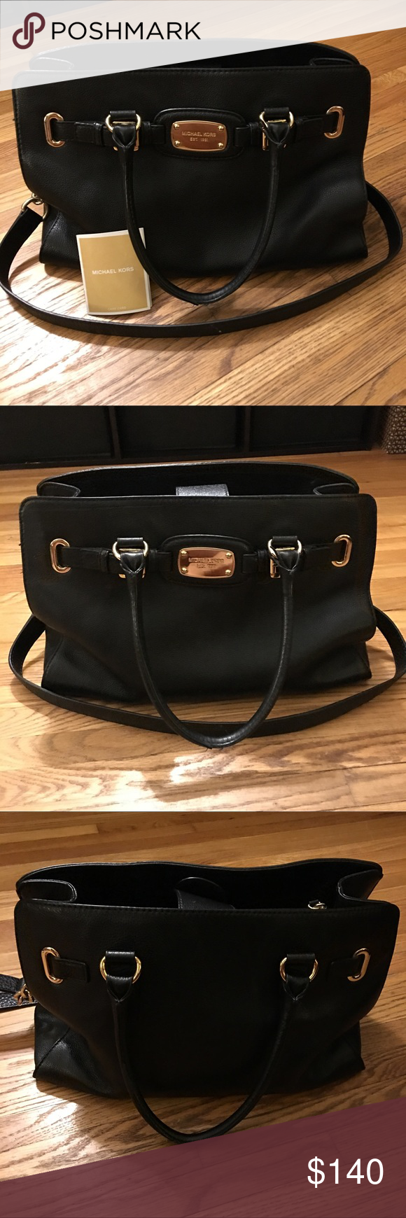 Authentic Michael Kors Hamilton Black Leather MK Hamilton (Large)  Excellent Condition  Smoke free/Pet free Purchased at MK store in March '16 @ retail $300+  Nice Pebbled Leather Tote In Black With Gold Accents. Double 6'' Handle Drop And 16'' Shoulder Drop. Measurements: 13.75 W X 13.25 H X 4 D  Price is Firm.   (This item is crossposted) Michael Kors Bags Shoulder Bags
