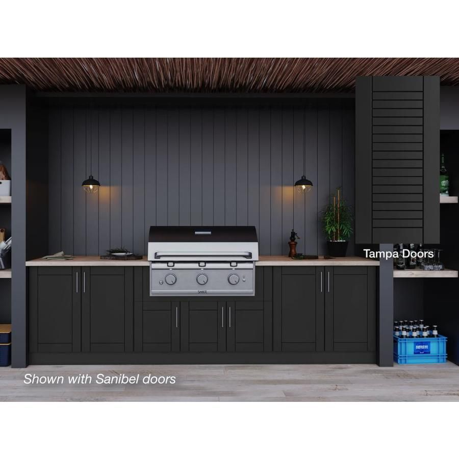 Weatherstrong 120 In W X 34 5 In H X 27 In D Pitch Black Door Base Semi Custom Cabinet Lowes Com Outdoor Kitchen Cabinets Modular Outdoor Kitchens Kitchen Set Cabinet